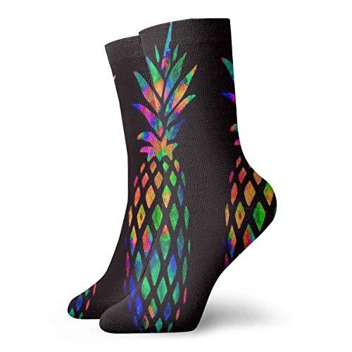 Calcetines de mujer para hombre Calcetines atléticos de piña arcoíris Calcetín personalizado anti olor Cojín corto Medias de arranque