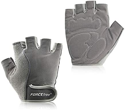 Forcefree+ Workout Weight Lifting Gloves Half Finger bbell Training Exercise Gym Fitness Gloves for Men Women : Light Grey, M