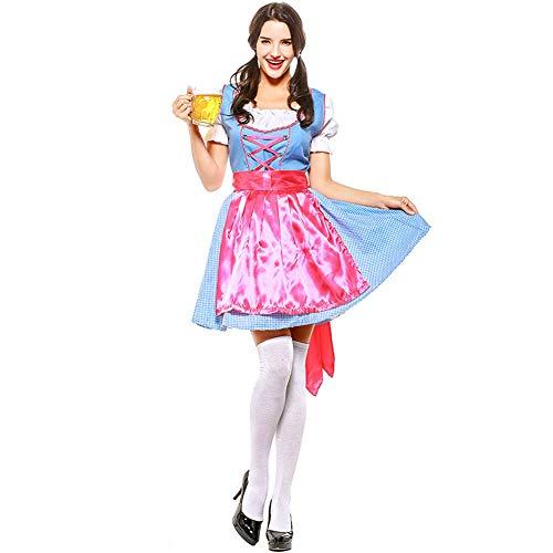 Chiyeee Dirndl jurken 3-delige set dames midi klederdrachtjurk voor Duitse Oktoberfest party meid cosplay kostuum
