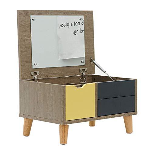 Daily Equipment Liudan Tocador Tocador pequeño Tocador de escritorio Encimera multifuncional Pequeña mesa de centro Tocador de madera y espejo Niñas Mujeres Muebles de dormitorio Juego de tocador c