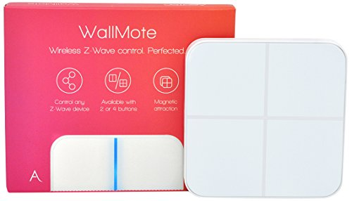 Aeotec WallMote Quad, Z-Wave Plus Interruttore a Muro Wireless, Telecomando a 4 Pulsanti, 16 Scene
