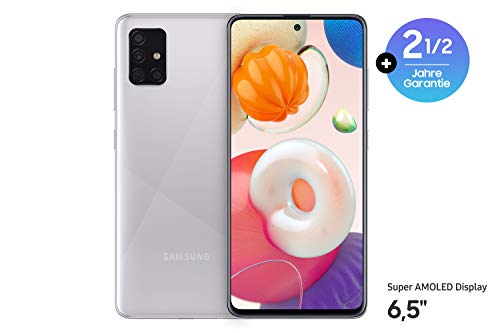 Samsung Galaxy A51 Android Smartphone ohne Vertrag, 4 Kameras, 6,5 Zoll Super AMOLED Display, 128 GB/4 GB RAM, Dual SIM, Handy in silber, deutsche Version