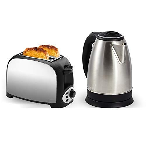 Set petit déjeuner - Grille pain 2 fentes finition inox + Bouilloire en inox - 1500W 1.8L