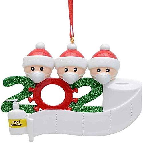 Adorno de familia sobrevivido Adornos de árbol de Navidad 2020 Adornos de adorno de Navidad, en cuarentena en casa Adorno de árbol de Navidad personalizado de la familia, Nochebuena (3 cabezas)