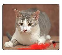 (アイズマウスパッド)マウスパッドゲーミングマウスパッドホワイトグレーキトンと美しい黄色い目