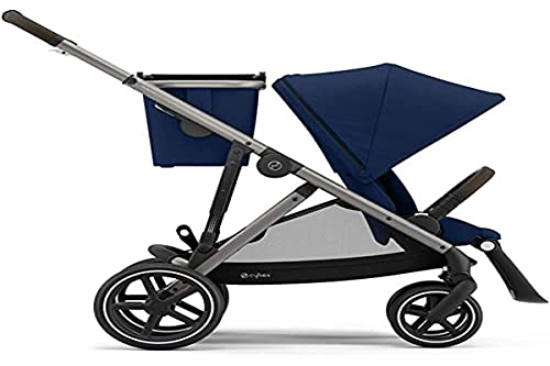 CYBEX Gazelle S Stroller, Modular Double Stroller for Infant and Toddler, Includes Detachable Shopping Basket, Over 20+ Configurations, Folds Flat for Easy Storage, Navy Blue