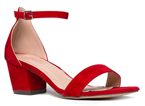J. Adams Daisy Mid Heel Sandal Red 9 B(M) US