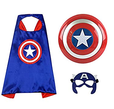 """O3 Captain America 12"""" Shield + Blue Cape Cosplay Set, Cartoon Superhero Dress up Costumes Suit, Plastic Shield + Satin Cape, for Kids Boy Role Play Toy"""