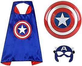 "O3 Captain America 12"" Shield + Blue Cape Cosplay Set, Cartoon Superhero Dress up Costumes Suit, Plastic Shield + Satin Ca..."