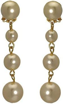 Simonetta Gold tone Cream faux Pearl Drop Clip On Earrings