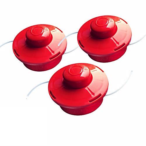 Nemaxx 3X FS2 Fadenspule mit Tippautomatik, Doppelfadenkopf für Benzin Motorsense - Rasentrimmer Fadenkopf, Freischneider Grasschneider, Zubehör Ersatz Spule - Rot