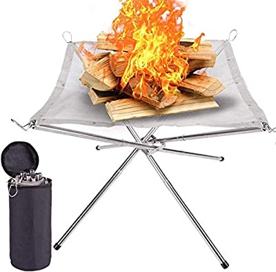 Lumiereholic Portable Fire Pit Outdoor 16.5 Inch Camping Fire Pit Foldable, Steel Mesh Fire Pits Fireplace for Camping, Outdoor, Patio, Backyard and Garden by Lumiereholic