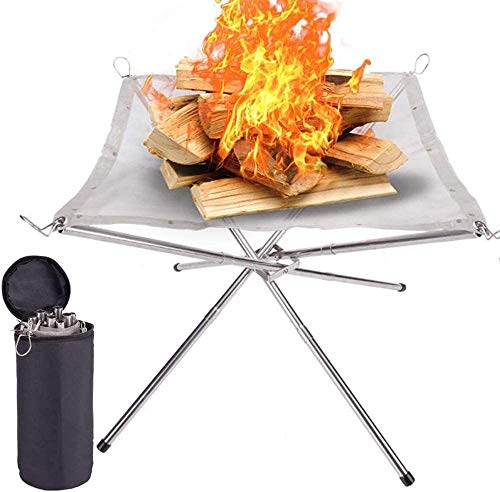 Lumiereholic Portable Fire Pit Outdoor 16.5 Inch Camping Fire Pit Foldable, Steel Mesh Fire Pits Fireplace for Camping, Outdoor, Patio, Backyard and Garden