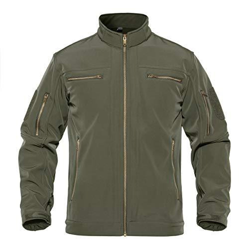 TACVASEN Men's Water Resistant Athletic Softshell Active Fleece Liner Jacket Green, L