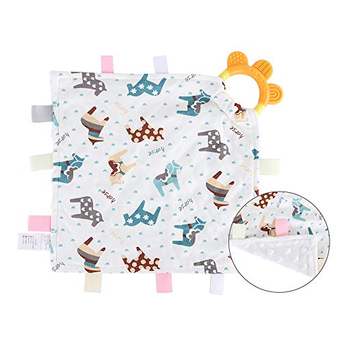 Baby Soothing Plush Blanket with Colorful Tags-Square Appease Blankets for Boys and Girls-Soft and Comfortable-Cute Baby Tags Security Blankets with teether (Horse)