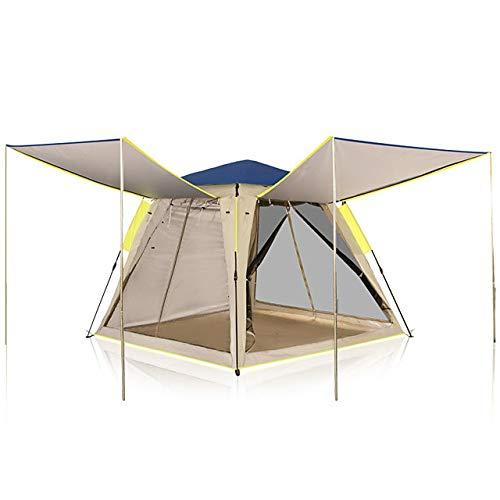 4-persoons familietent Outdoor winddicht Regen Waterdicht Draagbaar Enkellaags tent met tent 1500-2000 mm voor kamperen/wandelen/grotten picknicken Glasvezel Oxfordstof 210 * 210 * 168 cm