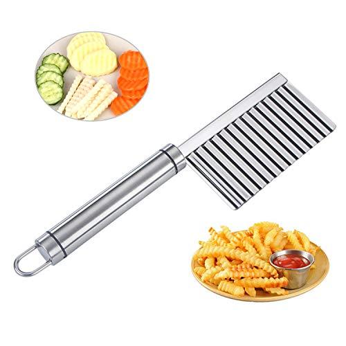 ViViKaya Wellenmesser, Wellenschneider aus Edelstahl Kartoffelschneider Gemüseschneider, Pommesschneider, für Gemüse, Kartoffeln, Zwiebeln, spülmaschinenfest