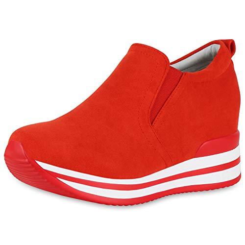 SCARPE VITA Damen Sneaker Wedges Plateau Turnschuhe Keilabsatz Freizeit Schuhe 174026 Rot 40