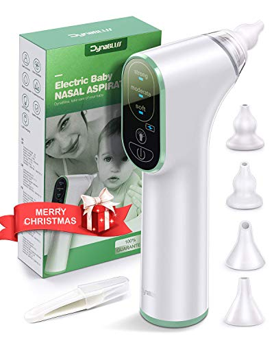 Aspiratore Nasale Neonato, DynaBliss Aspiratore Nasale Elettrico, USB di Ricarica, 3 Livelli di Aspirazione e 4 ugelli riutilizzabili per Neonati Bambini Piccoli