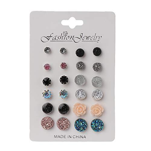 siwetg Juego de 12 pares de pendientes redondos de piedras de resina de colores para mujer