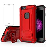 Phone Case for iPhone 5S 5 SE 5SE with Tempered Glass Screen Protector Cover Cell Accessories Stand Kickstand Shockproof iPhone5 iPhone5s iPhoneSE iPhone6se i 6SE iPhone5se Women Men Cases Red