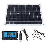 YARNOW Panel Solar Set Cargador de Panel Solar Portátil para Coche 20W con Controlador para Vehículo RV Camping 42X28cm