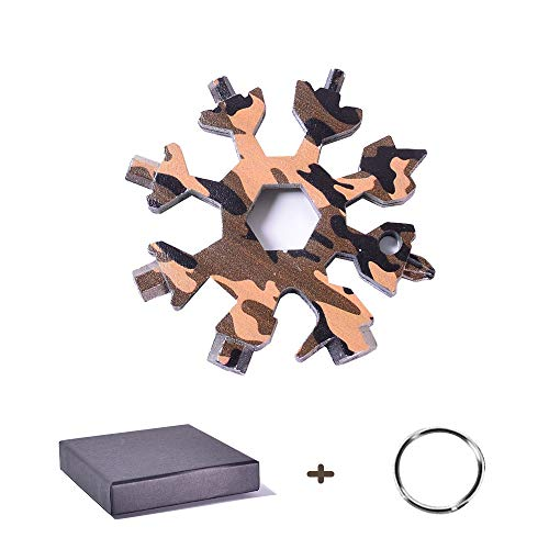 18-in-1 Snowflake Multi Tool, Stainless Steel Portable Tools, Pocket Multipurpose Keychain Ornaments for Daily Screwdriver Camping Adventure, All In One Gadgets Gift for Men (Camouflage)