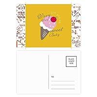 チェリーの甘い赤ちゃんの甘いアイスクリーム 公式ポストカードセットサンクスカード郵送側20個