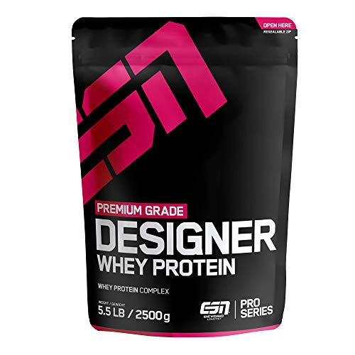 ESN Designer Whey Protein Big Pack – 2500g – Strawberry Milk Shake – Eiweißpulver reich an essentiellen Aminosäuren (EAAs) – Sehr gut löslich – 83 Portionen – Made in Germany