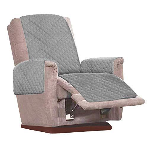 Sesselschoner, 1 Sitzer Sesselauflage, Anti-Rutsch Sesselüberwurf, Sesselschutz mit 2 weißen Spanngurten verstellbaren Schnallen & Armlehnen, Sesselbzug für Zuhause Wohnzimmer (Grau)