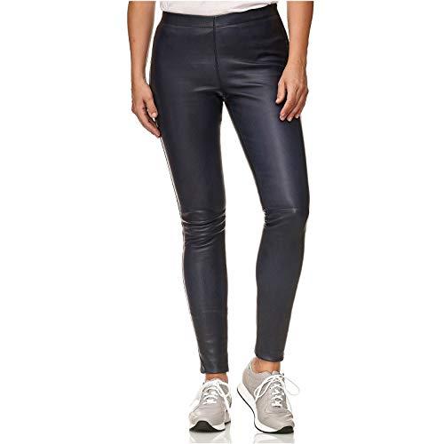yamour Leder Leggings | Skinny Stretch | Marineblau | Veloursleder (40)