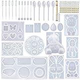 EuTengHao 132 moldes de silicona para animales de bricolaje Kit de moldes de fundición de resina contiene 4 osos moldes de resina 3D oso conejo gato pata molde collar moldes