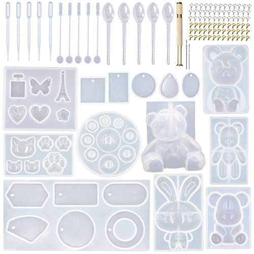 EuTengHao 132Pcs Animal Silicone Molds DIY Resin Casting Molds Kit Contains 4 Bears Resin Molds 3D Bear Rabbit Cat Paw Mold Necklace Pendant Molds Time Gem Eiffel Tower Jewelry Crystal Resin Mold