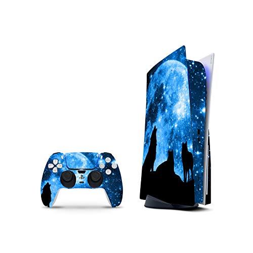 PS5 Skin Console Controllers De 46 North Design, Misma Calidad Que Las Calcomanías De Coche, Lobo Azul Luna Cielo Estrellas, Alta Calidad, Duradera, Compatible Con PS5 W/Disk, Fabricado En Canadá