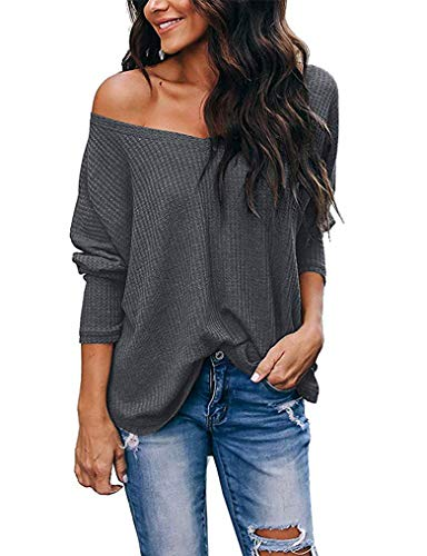 Womens Cozy Fall Clothes Loose Thermal Shirts Casual Off The Shoulder Long Sleeve Kint Tops Grey L