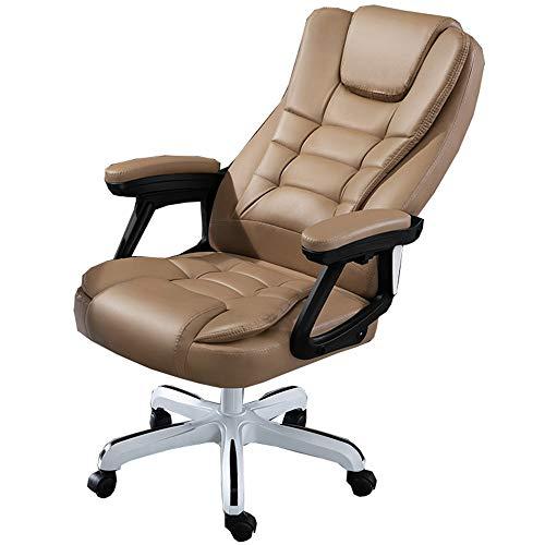 LJFYXZ Silla giratoria de Oficina con reposabrazos y Ruedas Mesas y sillas Ergonómico Inclinación del Respaldo de 145 ° Silla de Ordenador PU Capacidad de Carga 150 kg (Color : Khaki)