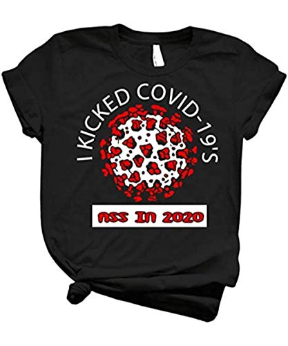 doxumavnStore i Kicked c-Ovid 19 Ass in 2020 Cool c-oronavirus Survivor Awesome Blue Version Pandemic Remembrance Slim fit t Shirt cus.
