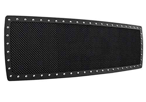 n-FAB Wire Mesh Grille : Stainless Steel Mesh Grill, with Chrome Studs in Outer Ring : Textured Black - D09MG1