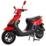 X-PRO X22 50cc Moped Scooter Street Scooter Gas Moped 50cc Adult Scooter Bike with 10' Aluminum Wheels! Assembled in Crate! (Red)