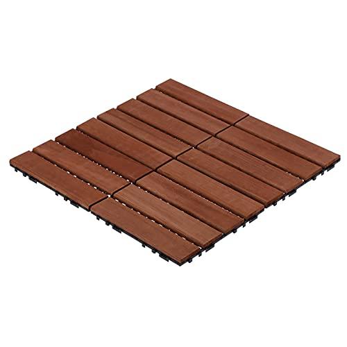 11 piezas de baldosas de suelo de madera, baldosas de suelo entrelazadas, suministros de construcción para jardines, patios, balcones