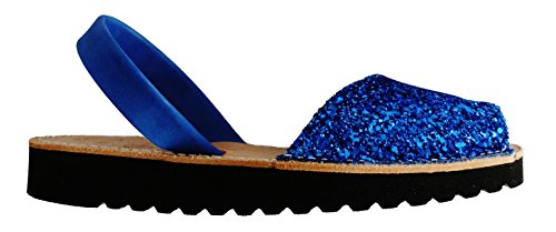 Avarcas menorquínas con Plataforma/cuña 2,5 cm, Abarcas, Albarcas, Sandalias (39, Glitter Azul)
