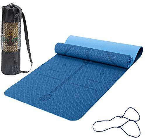 Esterilla Yoga Esterilla Pilates Antideslizante, 6mm Alfombrilla de Yoga con Línea Corporal, Ecoló