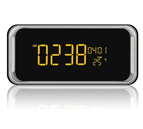 Portable Bluetooth Speaker, Radio Clock, with 2x6W Acoustic Drivers, 7-Inch LED Display, Night Light, Dual Alarm Clock, Slots for Micro SD Card & USB & AUX-In, for Smart Phone Tablet MP3 PC(Upgraded)