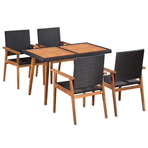 Muebles de jardín Fesjoy para el jardín de 5 piezas. Patio Dining Set - Juego de muebles de jardín de 4 plazas para exteriores con mesa de madera + 4 sillones para terraza o balcón