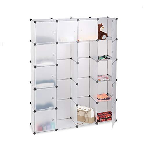 Relaxdays Étagère cubes rangement penderie armoire 14 compartiments plastique 2 tringles modulable, Transparent, 36.5 x 145 x 180 cm
