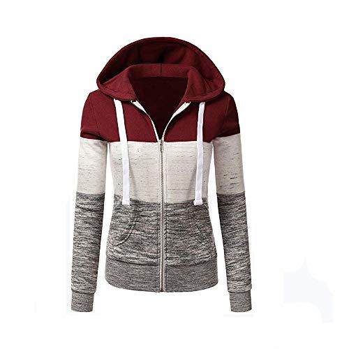 Newbestyle Jacke Damen Kapuzenpullover Strickjacke Pullover Sweatshirt Hoodies Kontrastfarbe Pulli Weinrot Small