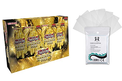TC Safe Yu-Gi-Oh! Maximum Gold Edition TUCKBOX - Caja de 4 sobres (7 tarjetas y 100 fundas protectoras)