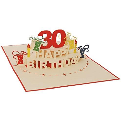 Favour Pop Up Glückwunschkarte zum runden 30. Geburtstag. Ein filigranes Kunstwerk, das sich beim Öffnen als Geburtstagstorte entfaltet. ALTA30R