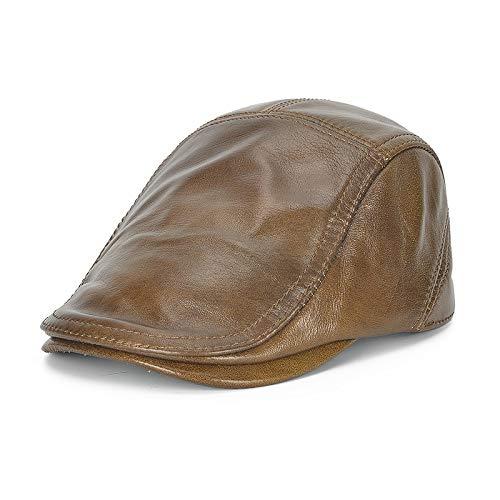 No-branded HOUJHUS Mens Cowhide Leather Flat Cap Winter Warm Elder Classic Caps Adjustable Headwear (Color : Dark brown, Size : One Size)