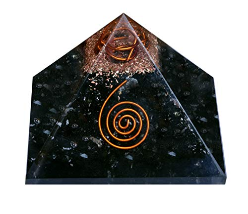 Healing Crystals Chakra Stones Emf Protection Orgone Pyramid, Reiki Energy Meditation Negative Ion Generator Pyramid For Positive Energy With Quartz And Copper (Black Tourmaline, 65 mm-75mm)
